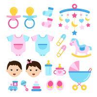 baby shower set icon vettore