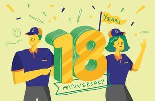 Celebrando l'illustrazione di vettore del fondo di anniversario di 18 anni