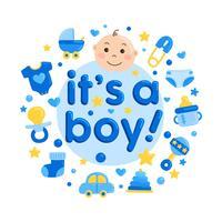 Carino Baby Shower Card vettore