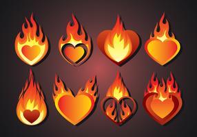 Insieme di vettore del cuore fiammeggiante