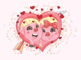 Creature In Love Vector Illustration
