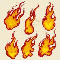 Set vettoriale di cuore ardente