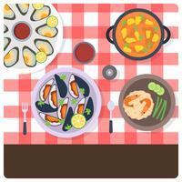 Le capesante di vista superiore e l'illustrazione di vettore di cucina dei frutti di mare