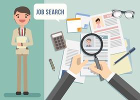 Vettore dell'illustrazione del carattere di ricerca di lavoro