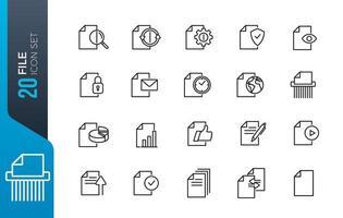 set di icone di file di documento