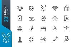 set di icone minimal pet shop vettore