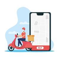 concetto di consegna in linea con corriere su scooter