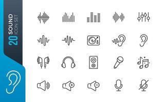set di icone audio minimo vettore