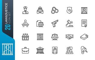 set di icone di giustizia giustizia vettore