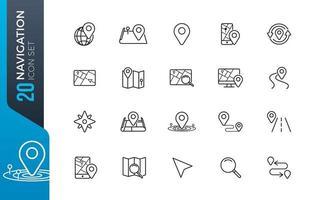 set di icone di navigazione minima vettore