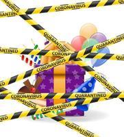 nastro protettivo a strisce che vieta la festa a causa della pandemia vettore