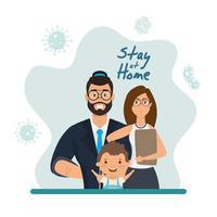 rimanere a casa campagna con la famiglia felice a casa vettore