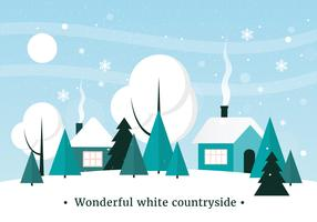 Paesaggio invernale di vettore Design piatto gratuito