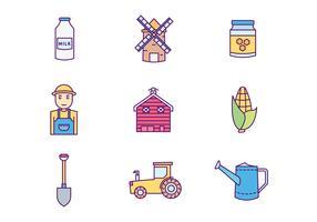 agricoltore e icone di agricoltura vettore