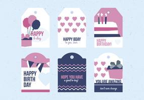 Set di etichette di compleanno vettoriale