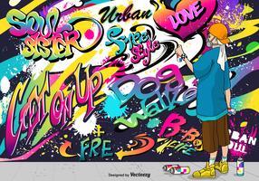 Il giovane ragazzo disegna i graffiti sulla parete vettore