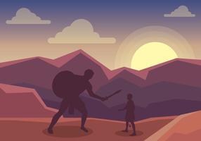 David e Golia nel mezzo dell'illustrazione di battaglia