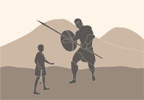 David contro l'illustrazione di Golia vettore