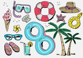 Illustrazione disegnata a mano di vettore della roba di vacanza della spiaggia