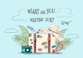 Macchina fotografica d'annata del cappello di estate della valigia e sandalo per viaggiare tema