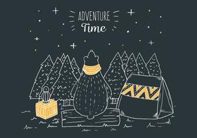 Scena di campeggio di notte in legno con orso tenero e lampada con citazione di viaggio