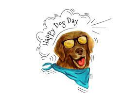 Cane divertente che porta gli occhiali da sole e sciarpa che sorride al giorno del cane vettore