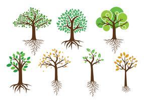 Vettori albero verde con radici