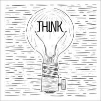 Illustrazione della lampadina di vettore disegnato a mano