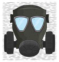 Illustrazione disegnata a mano della maschera antigas di vettore