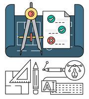 Icone vettoriali di ingegneria lineare