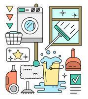 Icone lineari sulla pulizia vettore