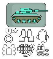Icone dell'esercito lineare vettore