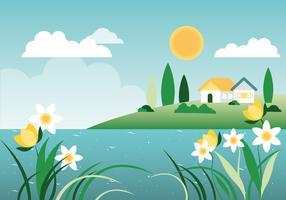 Bella illustrazione di sfondo di primavera vettore