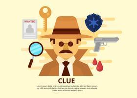 Detective gratuito e illustrazione vettoriale indizio