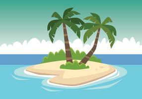 albero di cocco nella piccola isola vettore