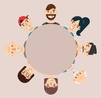 raccolta di avatar di cartoni animati felici in un cerchio vettore