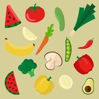 raccolta di frutta e verdura colorate vettore