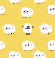 seamless pattern di pecore bianche e nere vettore