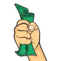 mano in un pugno che stringe denaro vettore