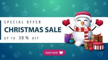 banner con motivo natalizio e pupazzo di neve vettore