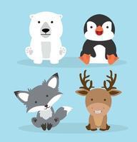collezione di simpatici animali artici vettore