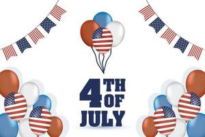 giorno dell'indipendenza degli Stati Uniti con bandiere e palloncini vettore