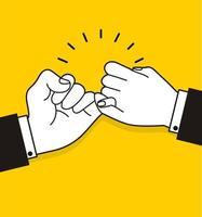 mani dell'uomo d'affari facendo una promessa mignolo vettore