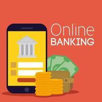tecnologia bancaria online con smartphone vettore