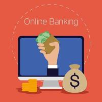 tecnologia bancaria in linea con computer desktop vettore