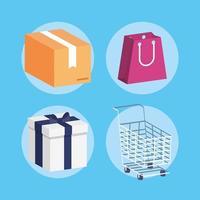 set di icone isometriche di shopping e commercio