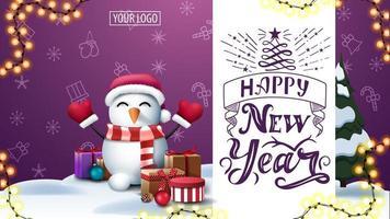 cartolina viola con motivo natalizio e pupazzo di neve vettore