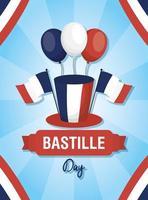 banner di celebrazione del giorno della bastiglia con palloncini