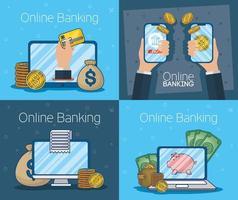 tecnologia bancaria in linea con dispositivi elettronici vettore