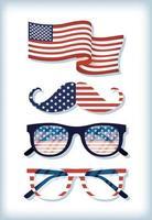set di icone di celebrazione del giorno dell'indipendenza degli Stati Uniti vettore